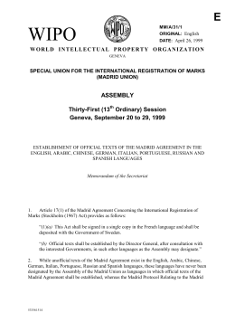 Establishment of Official Texts of the Madrid Agreement in