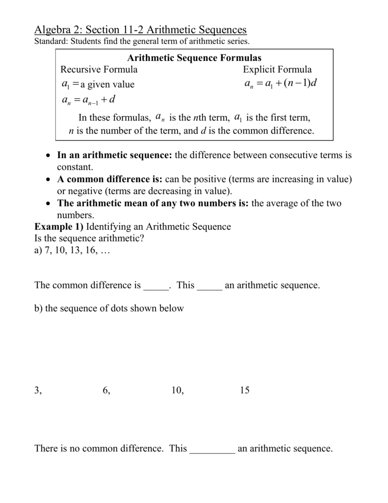 arithmetic sequences worksheet answers