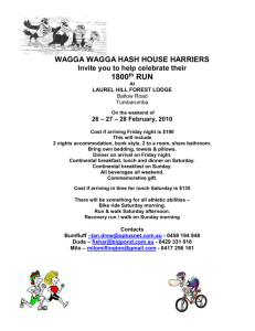 All beverages all weekend. - Wagga Wagga Hash House Harriers