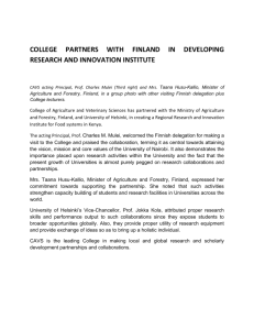 COLLEGE PARTNERS WITH FINLAND IN DEVELOPING