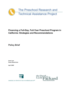 Financing a Full-Day, Full-Year Preschool Program in California
