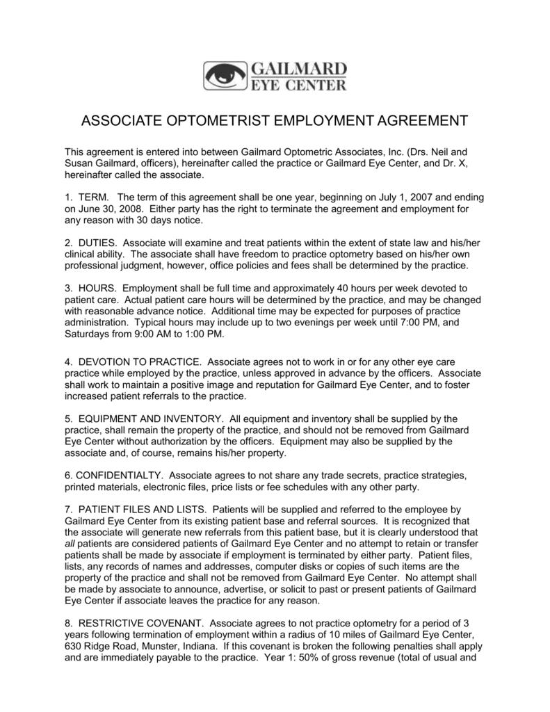 Associate Optometrist Employment Agreement