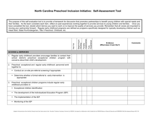 NC Preschool Self-Assessment Tool