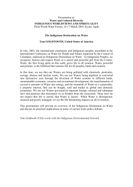 The Indigenous Declaration on Water