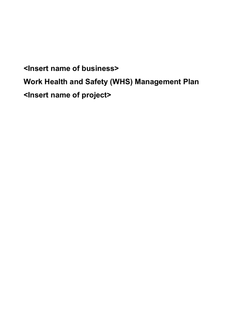 Construction Sample Whs Management Plan Template