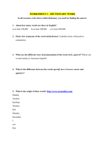 LEXICOLOGY QUIZ – DICTIONARY WORK
