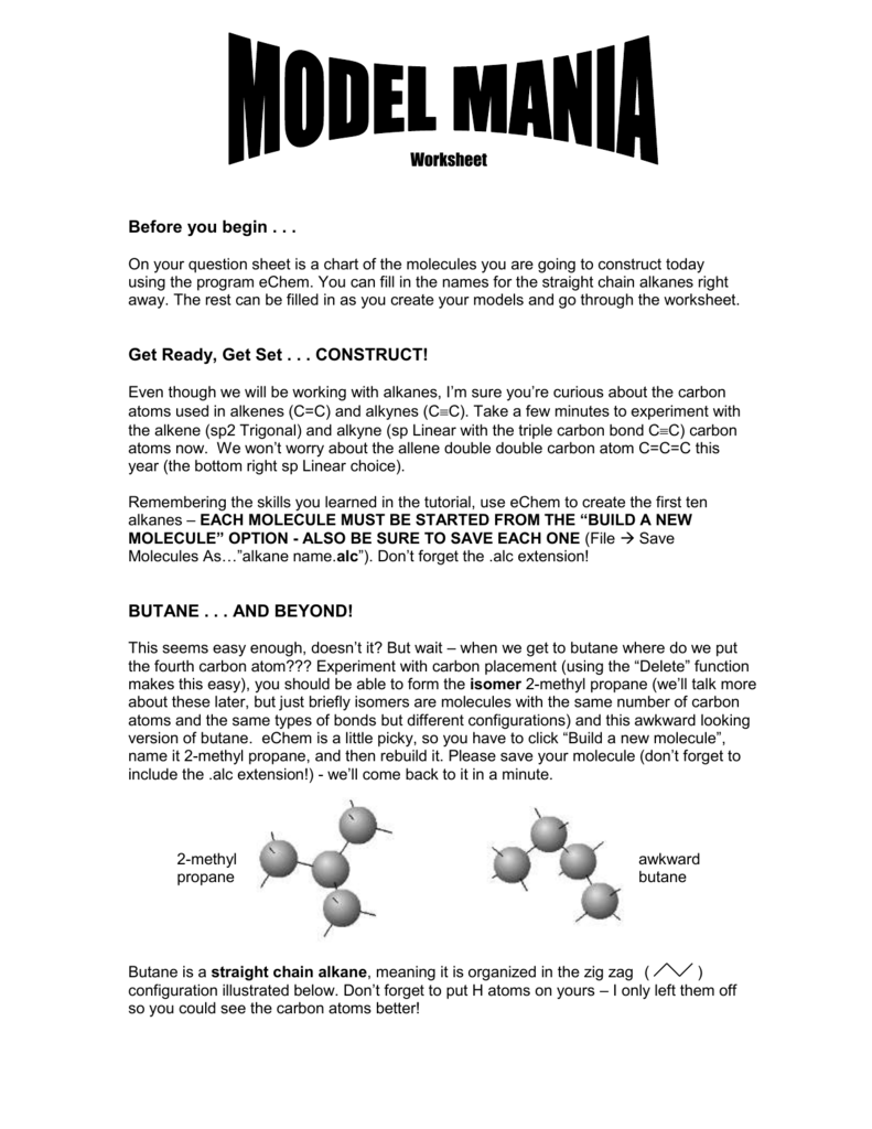 Model Mania Student Worksheet Question Sheet C115 – Naming Alkenes Worksheet