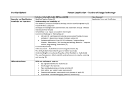 Bradfield School Person Specification – Teacher of Design
