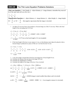 11_The Thin Lens Equation Problems Solutions v2