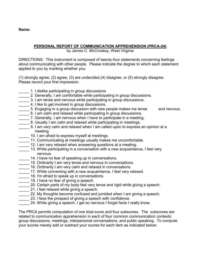 Speech Anxiety Assessment Quiz