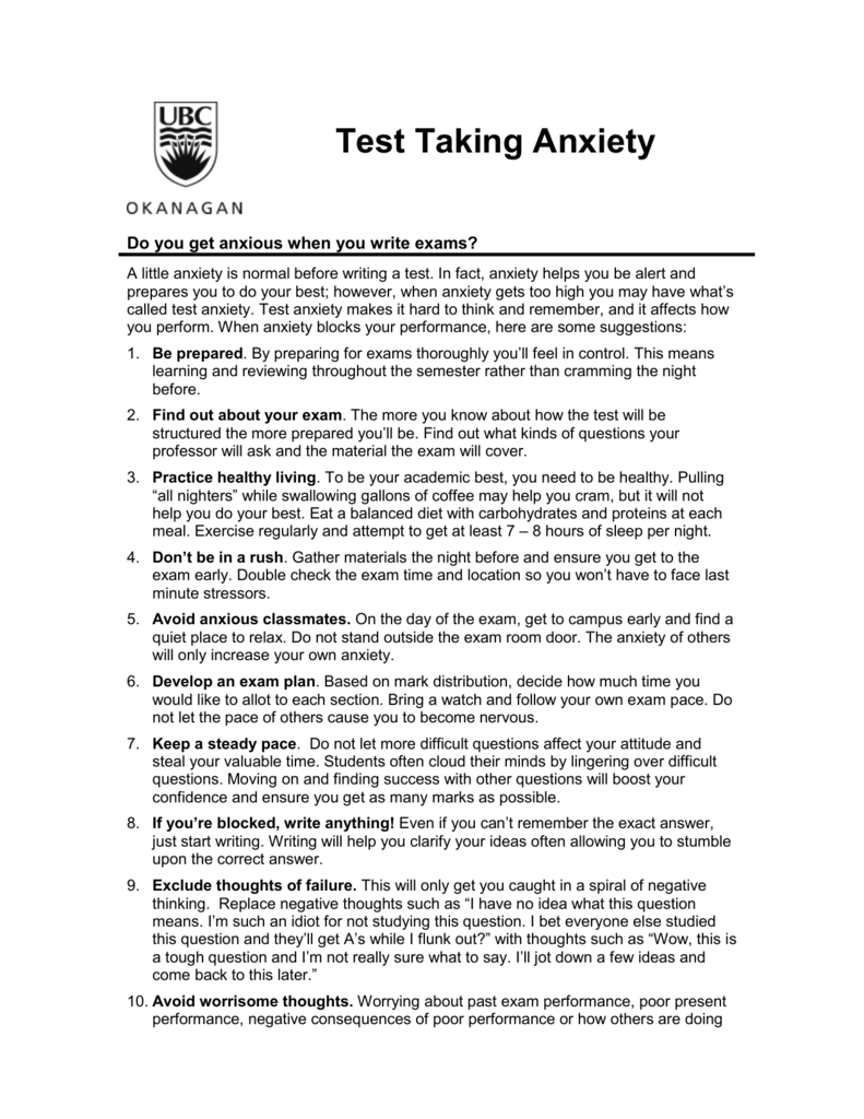 Worksheets Test Anxiety Worksheets exam anxiety