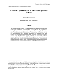 Common Legal Principles of Advanced Regulatory