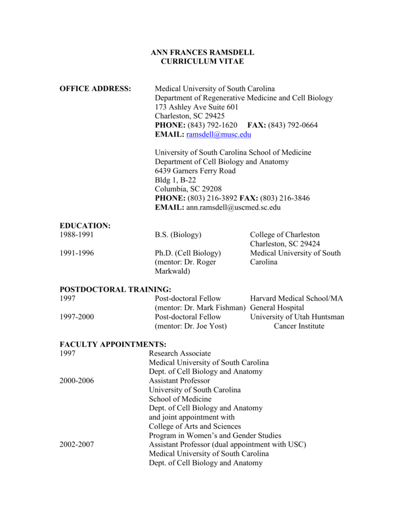 Dr. Ramsdell`s CV - University of South Carolina School of Medicine