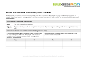 Sample environmental sustainability audit - CPSISC E