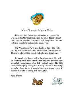 Miss Zhanna`s Mighty Cubs