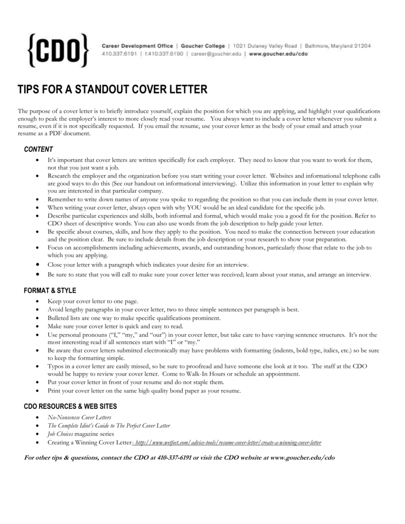 Tips For A Standout Cover Letter