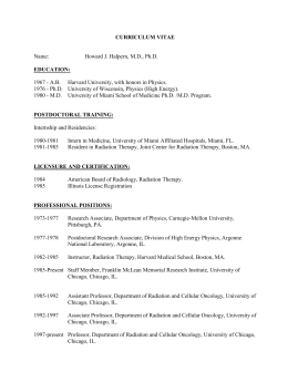 curriculum vitae - Radiation and Cellular Oncology