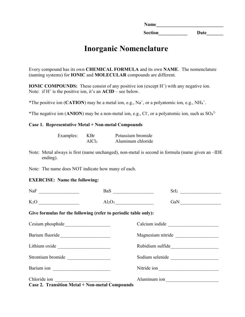 worksheet Inorganic Nomenclature Worksheet lab 5 inorganic nomenclature