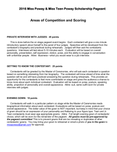 2016 Areas of Competition and scoring