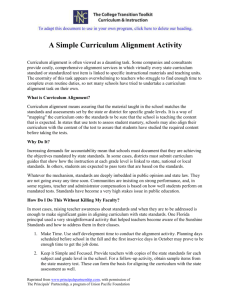 A Simple Curriculum Alignment Activity