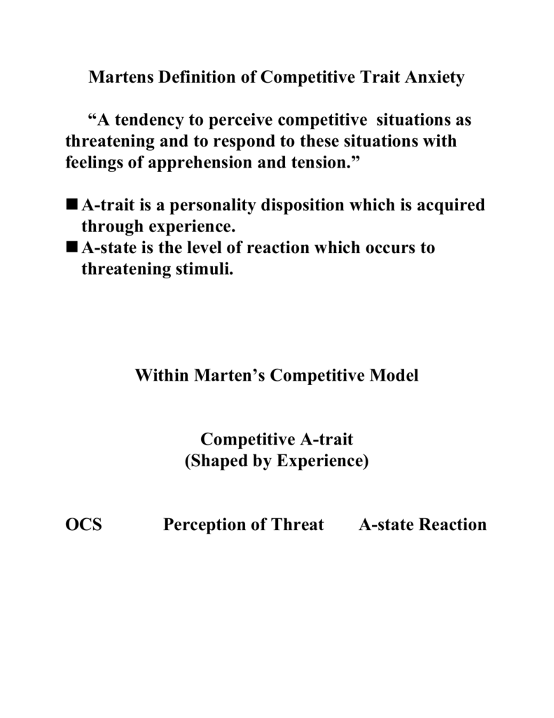 martens definition of competitive trait anxiety