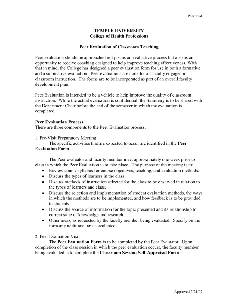 peer evaluation form College of Public Health – Peer Evaluation Form