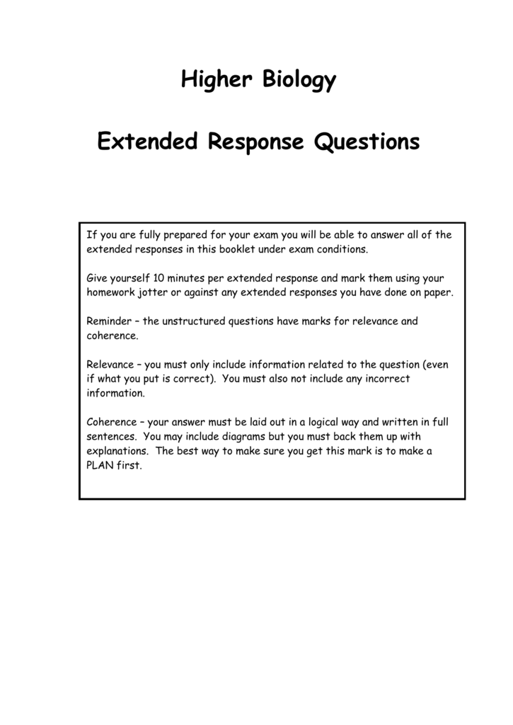 higher biology extended response questions and answers