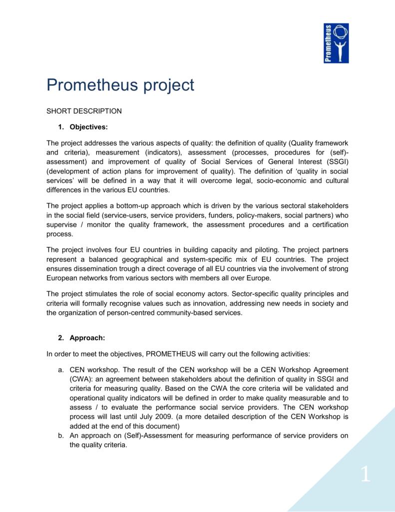 Information on Prometheus project - ENSA