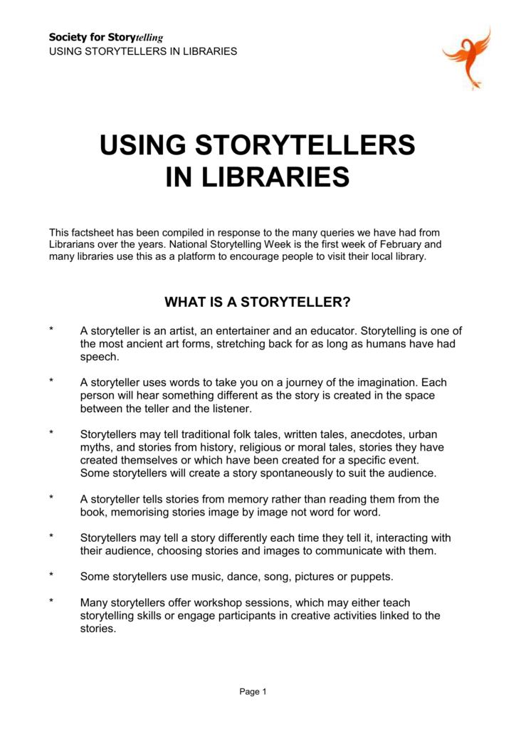 Using Storytellers in Libraries