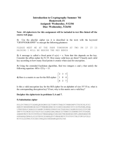 Introduction to Cryptography Summer `04