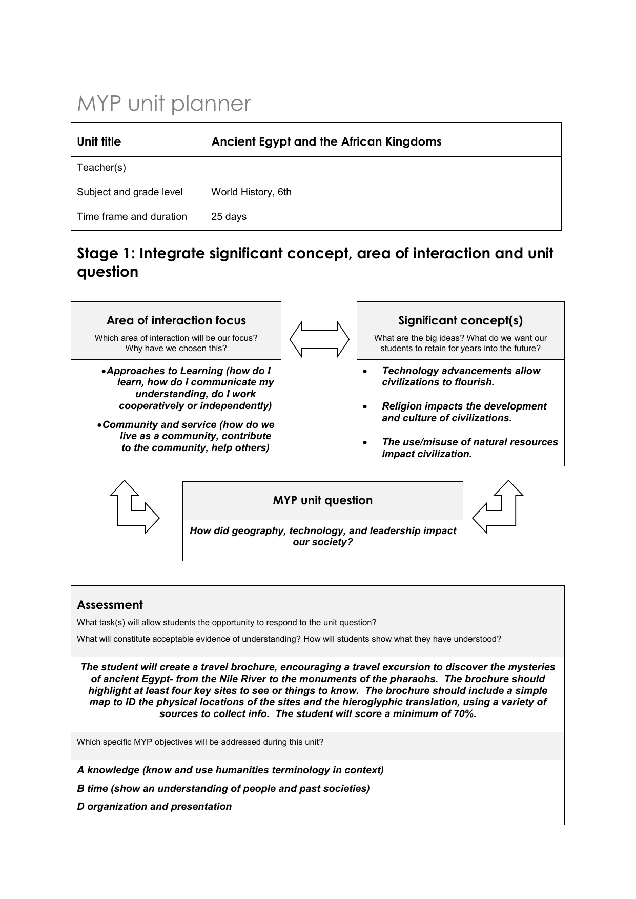 IB UNIT PLAN 6th Egypt and African Kingdoms[1]