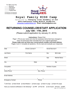 Royal Family Returning Counselor Application