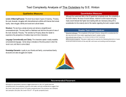 Text Complexity Analysis of The Outsiders by S.E. Hinton Levels of