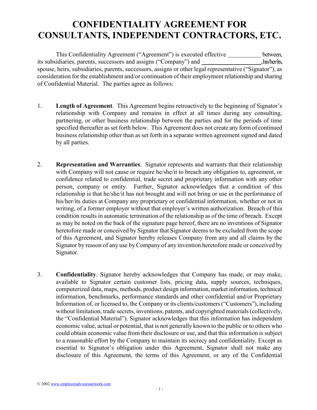 Confidentiality Agreement for Consultants Independent Contractors – Business Consulting Agreement