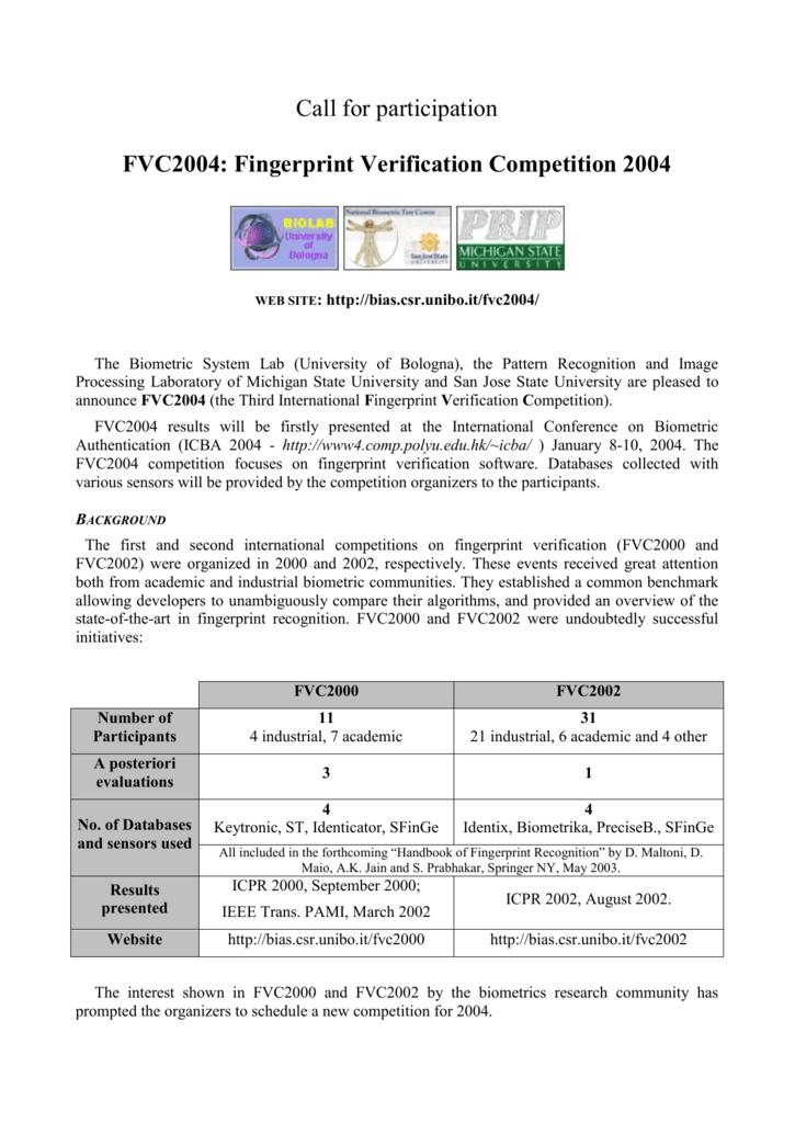 FVC2004 Call for Participation