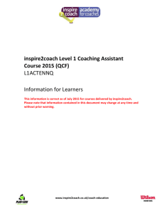 inspire2coach Level 1 Coaching Assistant Course 2015 (QCF) L1A