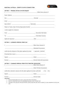 basketball australia – player clearance form