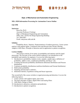 Course outline - Department of Mechanical and Automation