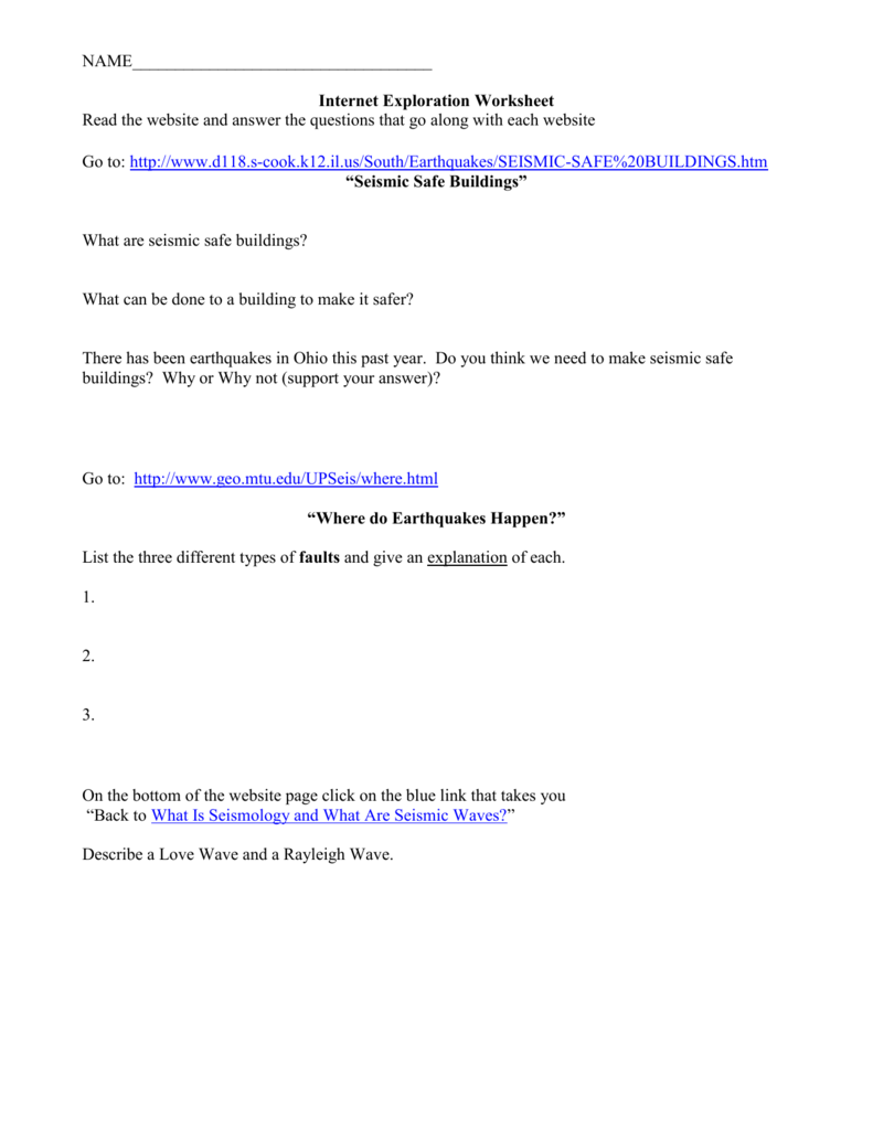 Internet Worksheet