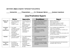 Oral Proficiency Rubric