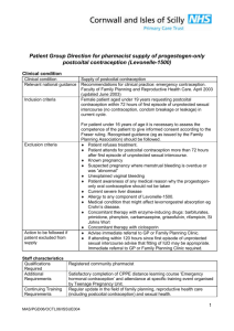 Patient Group Direction for pharmacist supply of progestogen