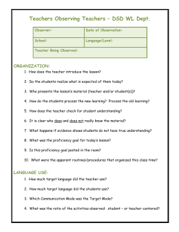 Teacher Observing Teacher: Format for
