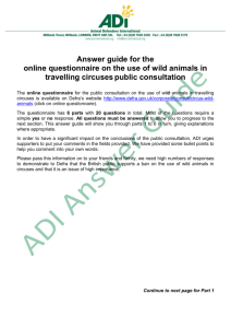 Answer guide for the online questionnaire on the use of wild animals