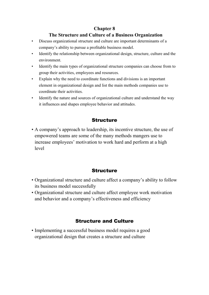 Chapter 8 The Structure And Culture Of A Business Organization