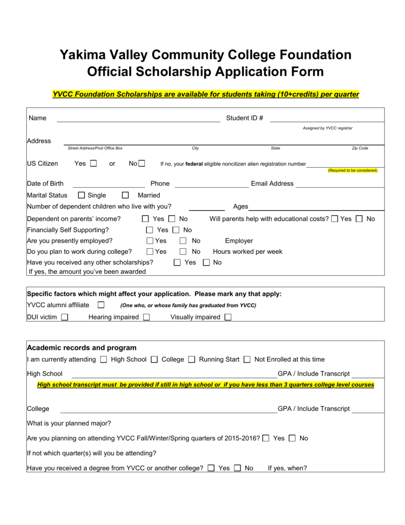 Yvcc Foundation Scholarship Application For 2015 2016
