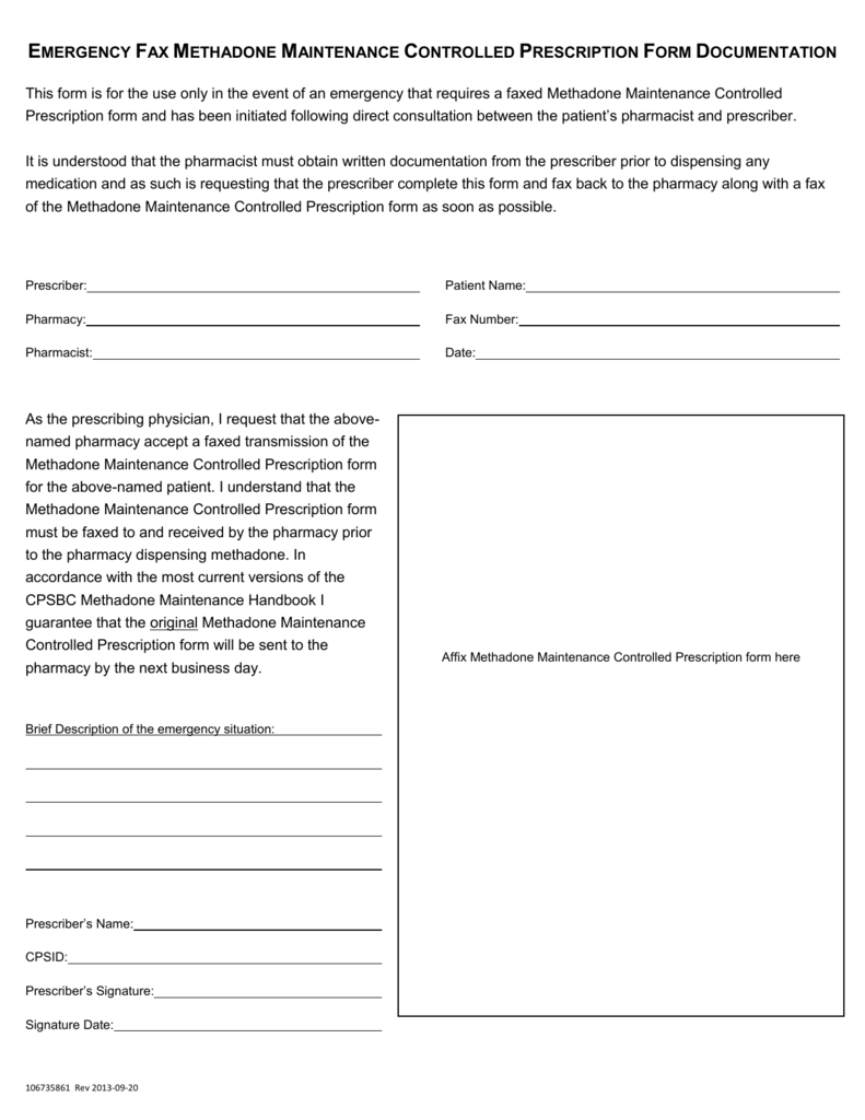 Emergency Fax Methadone Maintenance Controlled Prescription