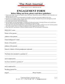 ENGAGEMENT FORM - Jamestown | Post