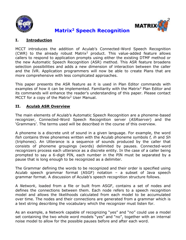 Matrix2 Speech Recognition