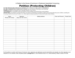 A Petition to the House of Commons in Parliament