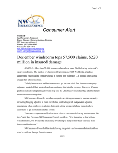 Windstorm Damage - NW Insurance Council
